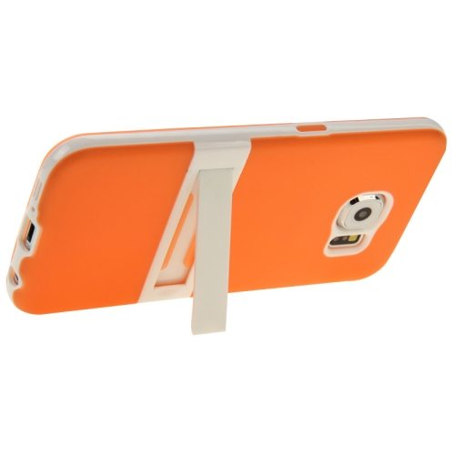 Frosted Surface TPU and PC Hybrid Case for Samsung Galaxy S6 with Holder (Orange)