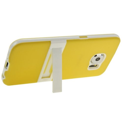 Frosted Surface TPU and PC Hybrid Case for Samsung Galaxy S6 with Holder (Yellow)