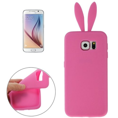 Rabbit Style Pure Color Protective Silicone Cover for Samsung Galaxy S6 (Pink)