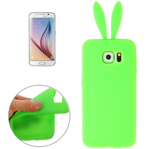 Rabbit Style Pure Color Protective Silicone Cover for Samsung Galaxy S6 (Green)