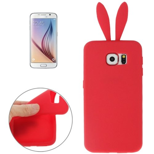 Rabbit Style Pure Color Protective Silicone Cover for Samsung Galaxy S6 (Red)