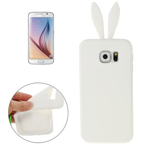 Rabbit Style Pure Color Protective Silicone Cover for Samsung Galaxy S6 (White)