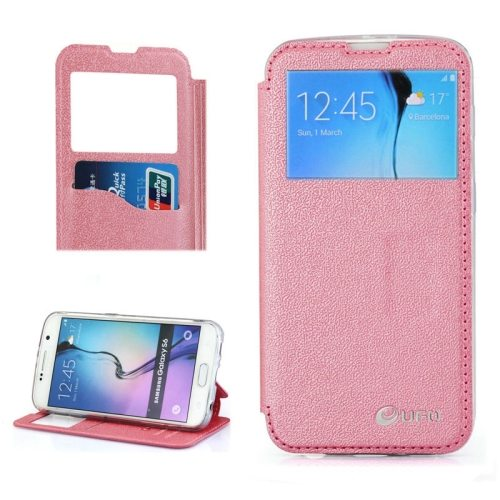 UFO Brand Caller ID Window PC Back and PU Leather Wallet Case for Samsung Galaxy S6 (Pink)