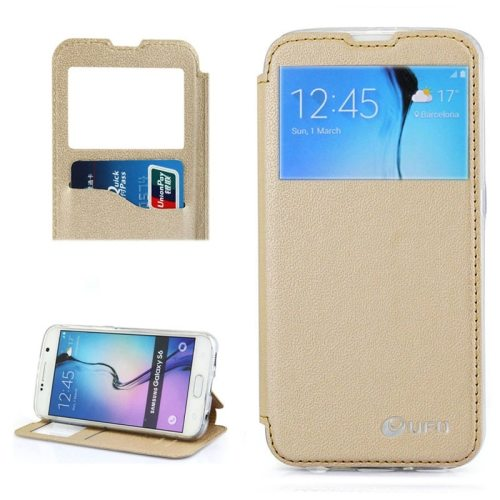 UFO Brand Caller ID Window PC Back and PU Leather Wallet Case for Samsung Galaxy S6 (Beige)