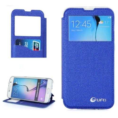 UFO Brand Caller ID Window PC Back and PU Leather Wallet Case for Samsung Galaxy S6 (Blue)