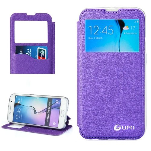 UFO Brand Caller ID Window PC Back and PU Leather Wallet Case for Samsung Galaxy S6 (Purple)