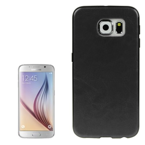 Crazy Horse Texture PU Leather Coated TPU Protective Case for Samsung Galaxy S6 (Black)