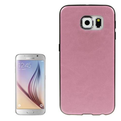 Crazy Horse Texture PU Leather Coated TPU Protective Case for Samsung Galaxy S6 (Pink)