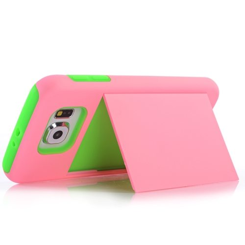 2 in 1 Shockproof Silicone and PC Card Slot Hybrid Case for Samsung Galaxy S6 (Pink)