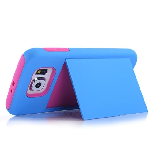 2 in 1 Shockproof Silicone and PC Card Slot Hybrid Case for Samsung Galaxy S6 (Blue)