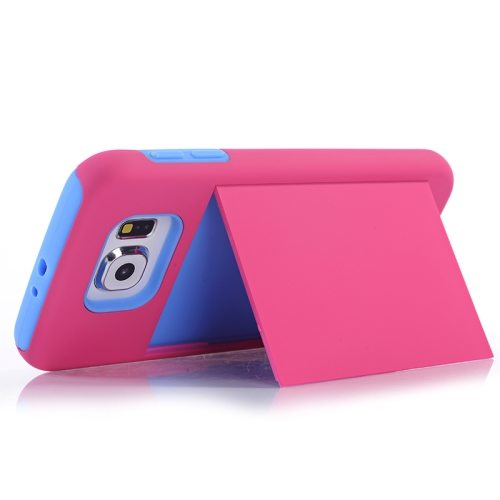 2 in 1 Shockproof Silicone and PC Card Slot Hybrid Case for Samsung Galaxy S6 (Magenta)