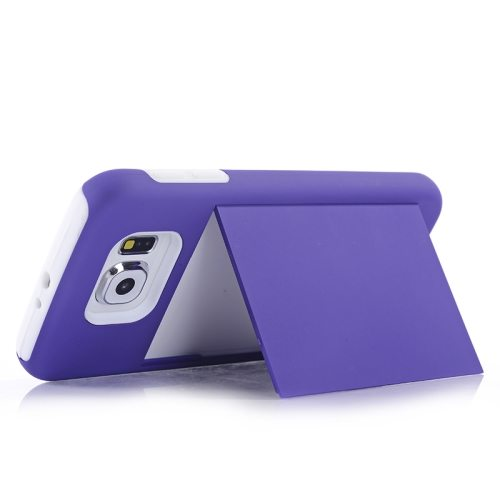 2 in 1 Shockproof Silicone and PC Card Slot Hybrid Case for Samsung Galaxy S6 (Purple)