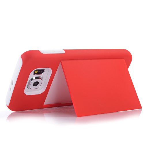 2 in 1 Shockproof Silicone and PC Card Slot Hybrid Case for Samsung Galaxy S6 (Red)