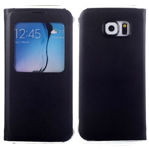 Litchi Texture Flip Leather Case for Samsung Galaxy S6 with Caller ID Display Window (Black)