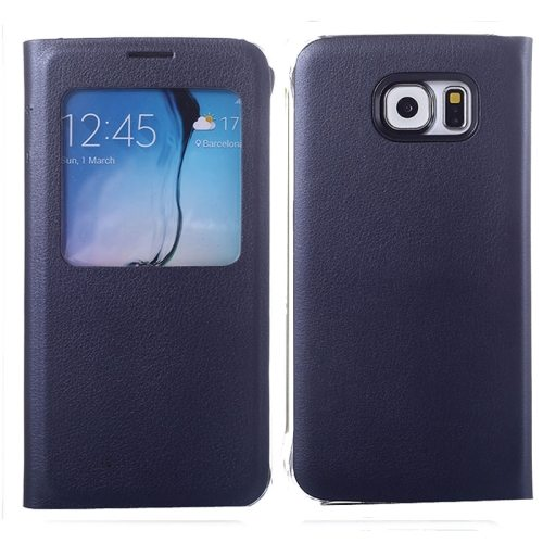 Litchi Texture Flip Leather Case for Samsung Galaxy S6 with Caller ID Display Window (Dark Blue)