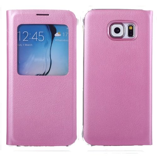 Litchi Texture Flip Leather Case for Samsung Galaxy S6 with Caller ID Display Window (Pink)
