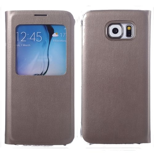 Litchi Texture Flip Leather Case for Samsung Galaxy S6 with Caller ID Display Window (Silver)