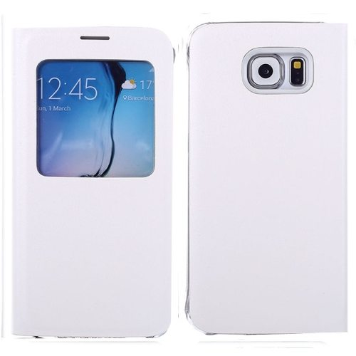 Litchi Texture Flip Leather Case for Samsung Galaxy S6 with Caller ID Display Window (White)