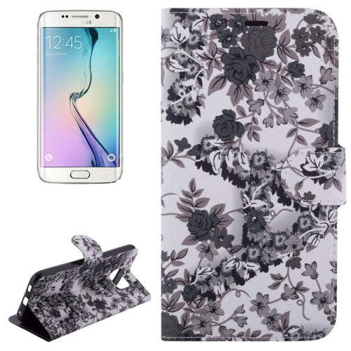 Flowers Pattern Magnetic Buckle Flip Leather Case for Samsung Galaxy S6 with Card slots (Black)