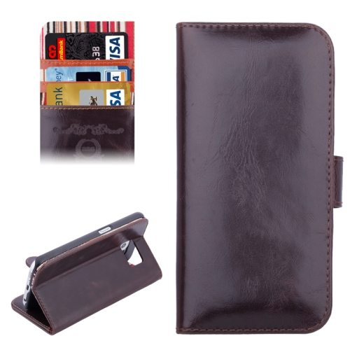 Crazy Horse Texture Folio Flip Leather Case for Samsung Galaxy S6 (Coffee)