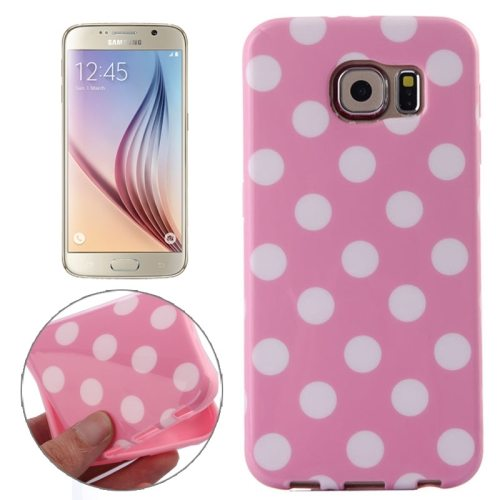 White and Black Polka Dot Pattern Smooth TPU Mobile Phone Case for Samsung Galaxy S6 (Pink)