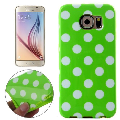 White and Black Polka Dot Pattern Smooth TPU Mobile Phone Case for Samsung Galaxy S6 (Green)