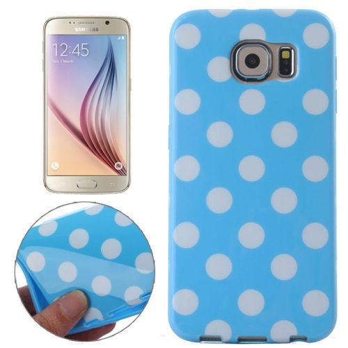 White and Black Polka Dot Pattern Smooth TPU Mobile Phone Case for Samsung Galaxy S6 (Light Blue)
