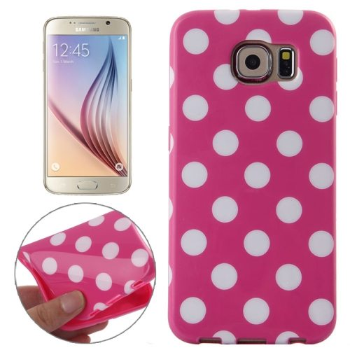 White and Black Polka Dot Pattern Smooth TPU Mobile Phone Case for Samsung Galaxy S6 (Rose)