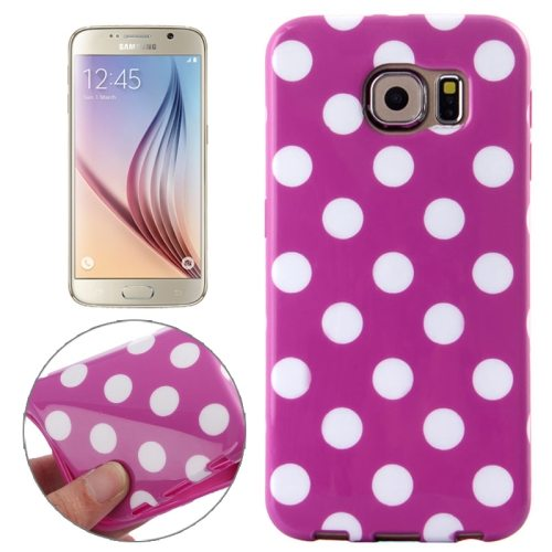 White and Black Polka Dot Pattern Smooth TPU Mobile Phone Case for Samsung Galaxy S6 (Purple)