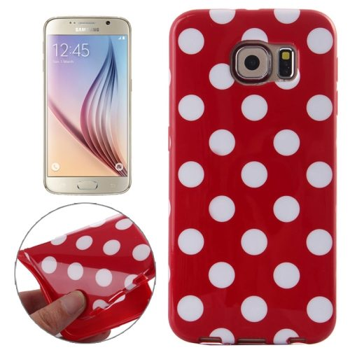 White and Black Polka Dot Pattern Smooth TPU Mobile Phone Case for Samsung Galaxy S6 (Red)