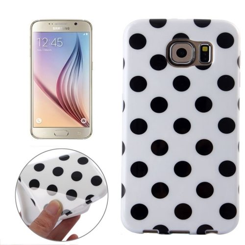 White and Black Polka Dot Pattern Smooth TPU Mobile Phone Case for Samsung Galaxy S6 (White)