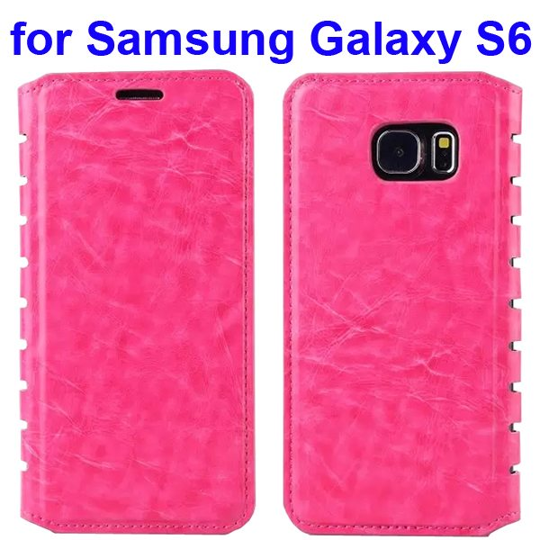 Crazy Horse Texture Flip Leather Case for Samsung Galaxy S6 with Hollow Frame (Rose)