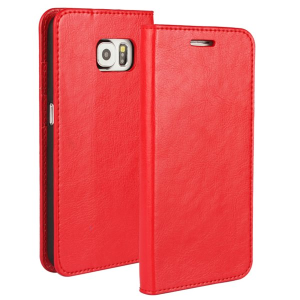 Crazy Horse Texture Wallet Flip Genuine Leather Case for Samsung Galaxy S6 with Holder (Red)
