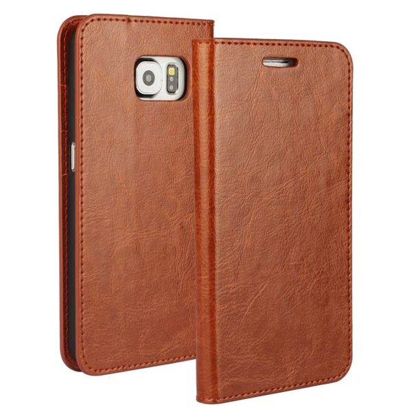 Crazy Horse Texture Wallet Flip Genuine Leather Case for Samsung Galaxy S6 with Holder (Brown)