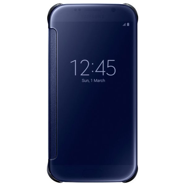 Clear View Translucent Flip Electroplating Mirror PC Case for Samsung Galaxy S6 (Dark Blue)