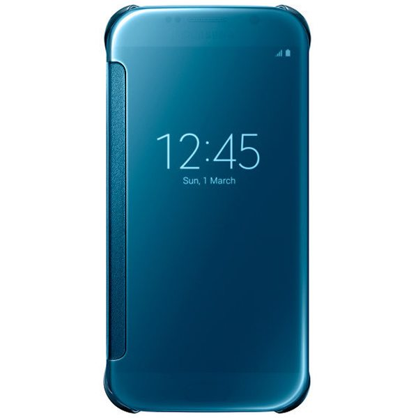 Clear View Translucent Flip Electroplating Mirror PC Case for Samsung Galaxy S6 (Blue)