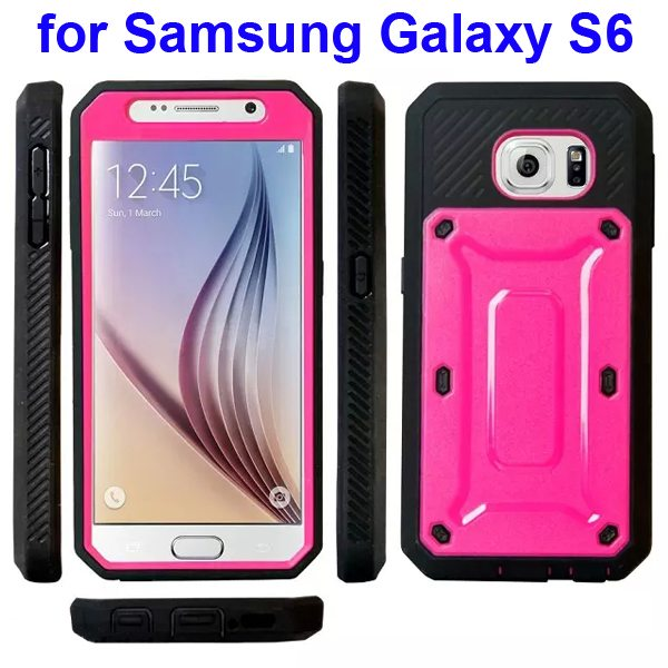 Beetles Design TPU and PC Hybrid Protective Case for Samsung Galaxy S6 (Pink)
