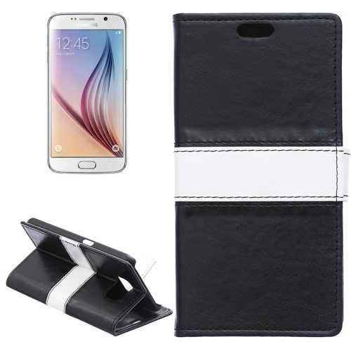 Color Matching Wallet Style Flip Leather Case for Samsung Galaxy S6 with Holder and Card Slots (Black)