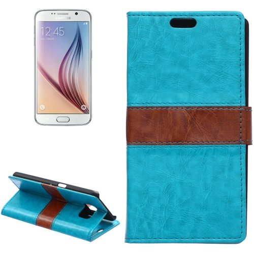 Color Matching Wallet Style Flip Leather Case for Samsung Galaxy S6 with Holder and Card Slots (Blue)