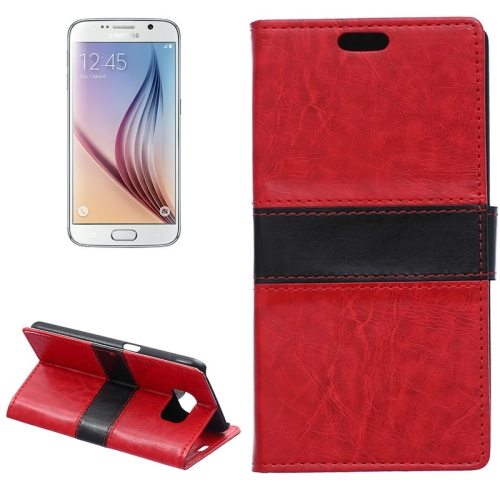 Color Matching Wallet Style Flip Leather Case for Samsung Galaxy S6 with Holder and Card Slots (Red)