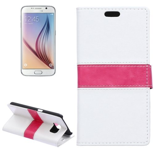 Color Matching Wallet Style Flip Leather Case for Samsung Galaxy S6 with Holder and Card Slots (White)