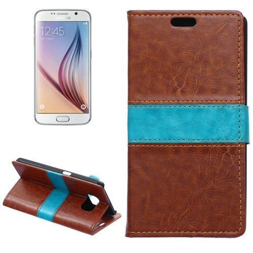 Color Matching Wallet Style Flip Leather Case for Samsung Galaxy S6 with Holder and Card Slots (Brown)