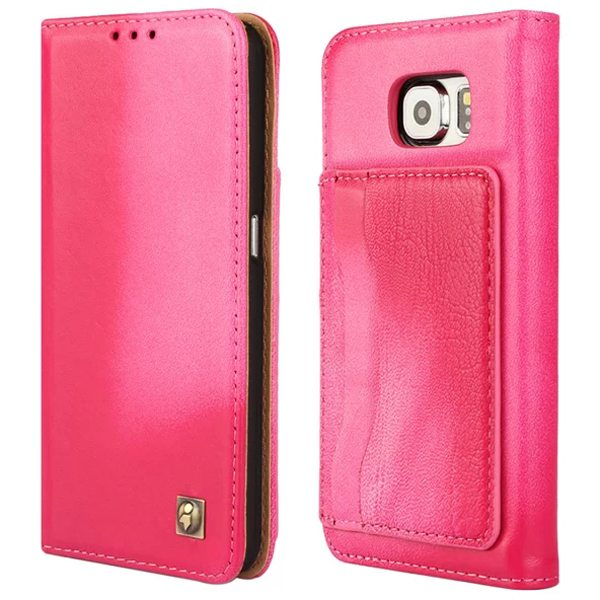 Lambskin Genuine Leather Wallet Case for Samsung Galaxy S6 with Card Slots on the Back (Rose)