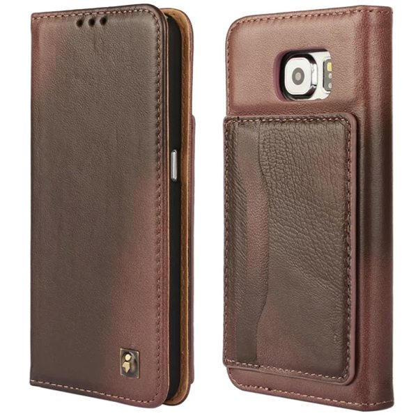 Lambskin Genuine Leather Wallet Case for Samsung Galaxy S6 with Card Slots on the Back (Brown)