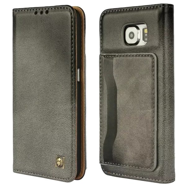 Lambskin Genuine Leather Wallet Case for Samsung Galaxy S6 with Card Slots on the Back (Gray)