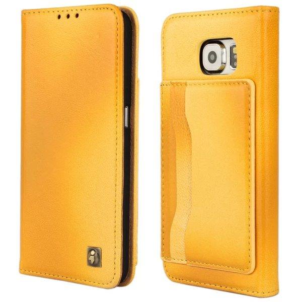 Lambskin Genuine Leather Wallet Case for Samsung Galaxy S6 with Card Slots on the Back (Yellow)
