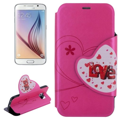 Love Design Crazy Horse Texture Flip Leather Case for Samsung Galaxy S6 with Card Slots & Stand (Magenta)