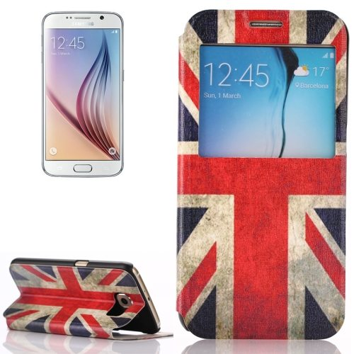 Flip Leather Case for Samsung Galaxy S6 with Holder and Caller ID Window (UK Flag Pattern)