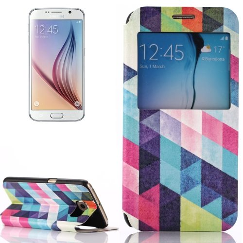 Flip Leather Case for Samsung Galaxy S6 with Holder and Caller ID Window (Geometric Pattern)