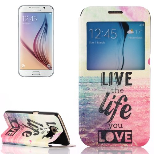 Flip Leather Case for Samsung Galaxy S6 with Holder and Caller ID Window (Live The Life You Love Pattern)